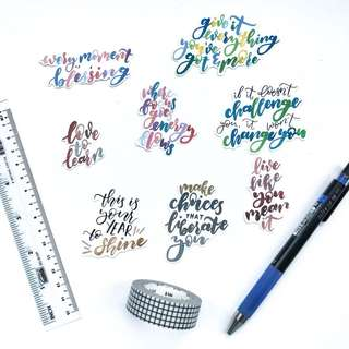 Watercolour Inspirational Quotes 2 Stickers - Stickyrella