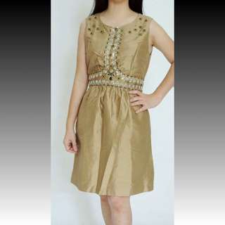 RAMADAN SALE...  (NHD-1717) VALENTINO Cocktail Dress + beads , mocca  >> Beads copot 1 biji di blkg