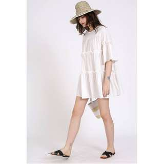 Tinesha Babydoll Dress - WHITE #HariRaya35