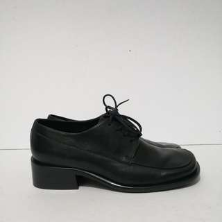 Authentic Etienne Aigner Black Leather Laced Up Shoes (Size: 6M)