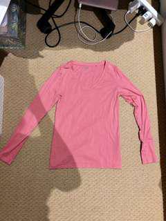V neck Pink long sleeve