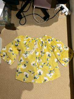 Yellow off shoulder top with Floral Print