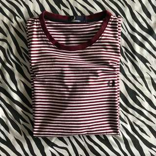 Fred perry sharp stripe tshirt red size l