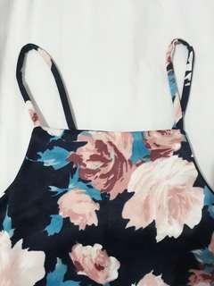 Floral halter dress (navy blue)