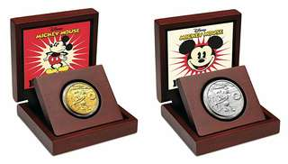 Mickey the steamboat 1/4 gold and 1 oz silver coins
