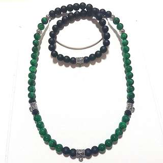 Amulet necklace(3 + 1back hook) Green african jade with matt black