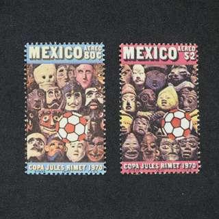 1970年墨西哥世界杯郵票全套共兩枚  (新票, 無背膠,包郵)