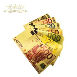 🚚 7pcs Gold Color Euro Banknote Sets 5 10 20 50 100 200 500 EUR Gold Banknotes in 24K Gold Replica Paper Money for Collection Gift