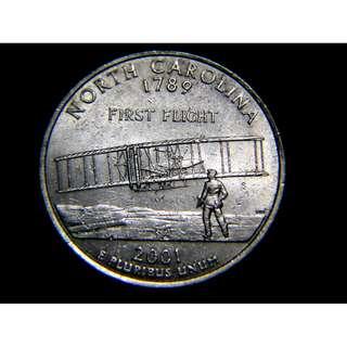 2001年美國紀念1789年北卡羅內納州拼入聯邦及首次飛行創舉1/4圓鎳幣