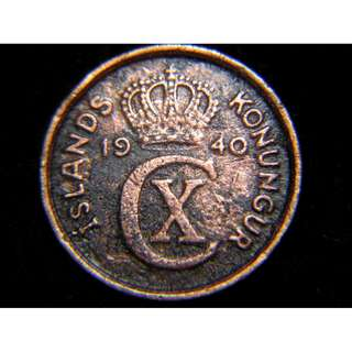 1940年丹屬冰島(Danish Iceland)丹皇克里斯仁十世徽2奧勒銅幣(二戰時期)