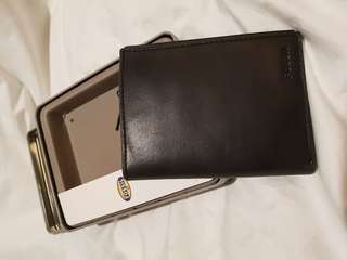 NEW ORI FOSSIL NOVA BLACK TRAVEL WALLET