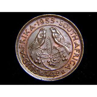 1955年英屬南非雙鳥1/4便士銅幣(英女皇伊莉莎伯二世像, 好品)