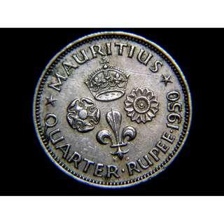 1950年英屬毛里求斯島殖民徽1/4盧比鎳幣(英皇佐治六世像)