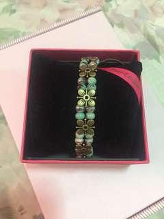 Blue Speckled Ceramic Bead Vintage Floral Bracelet