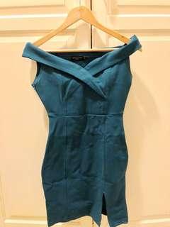 🚚 土耳其藍一字領洋裝