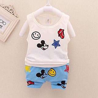 Cotton mickey cartoon clothes set sleeveless for babies/ kids/ toddlers