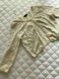 🚚 H&M米白亮片小針織外套