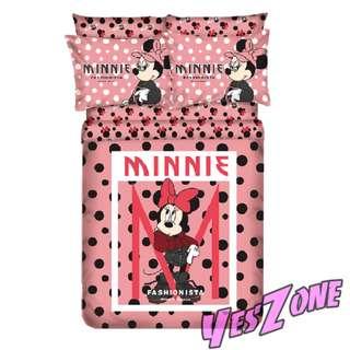 Yes Zone 卡通精品 迪士尼 米妮 米奇老鼠 正版 單人/雙人 三件套床笠純棉被套四件套床單