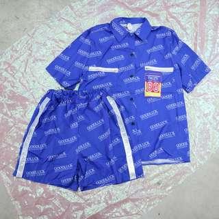 滿版英文中性短袖襯衫/滿版英文兩側反光中性短褲套裝