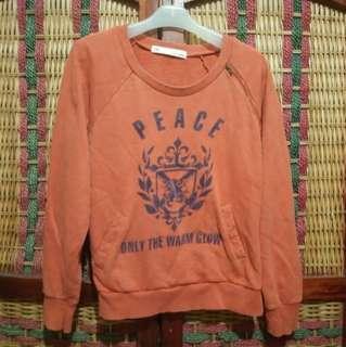 WG Sweater Crewneck Sablon Orange Pria Size M