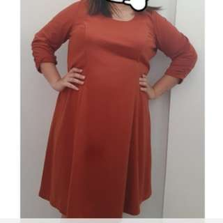 Orange Longsleeves Dress Plus Size