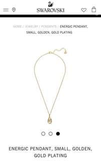 Swarovski 水晶金色吊墜 鍍金 花式切割石 水滴型