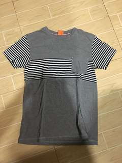 Gray shirt with stripes