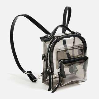 ZARA VINYL TRANSPARENT MINI BACKPACK