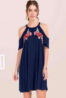 Embroidered Patched Coldshoulder Dress