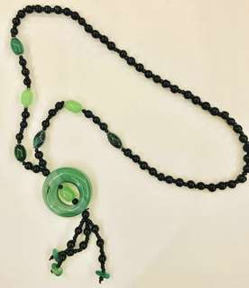 Green & black beaded necklace