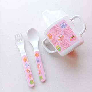 BABY SIPPY CUP TRAINER CUP WITH SPOON AND FORK SET (PINK OWL DESIGN)