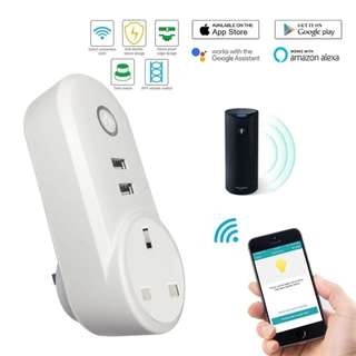 🚚 WiFi Smart Plug, Wireless Remote Control Smart Wall Socket With Dual USB Outlets, Compatible With Amazon Alexa Google Home