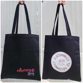 Black Canvas Graphic Tote Bag