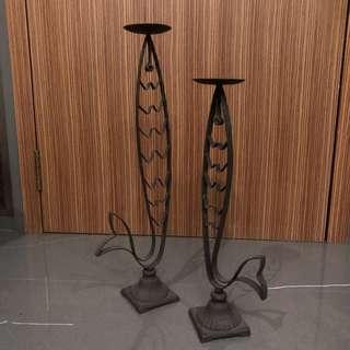 雙魚鐵柱蠟燭台ㄧ對