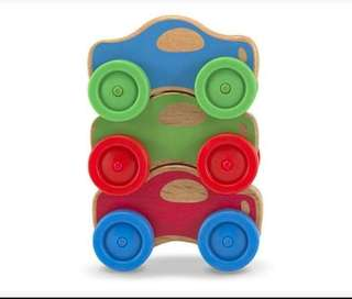 Melissa and Doug Wooden Stacking Toy Cars
