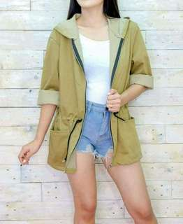 Long fashionable jacket with hoodie