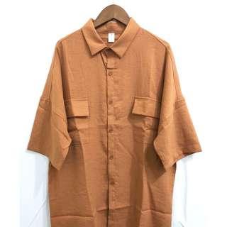 🚚 古著簡約咖啡色系短袖襯衫