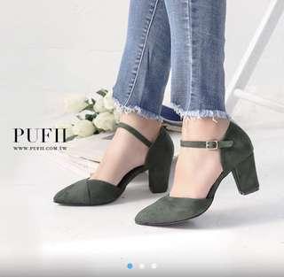 PUFI 購入 麂皮粗跟綁帶鞋 36號
