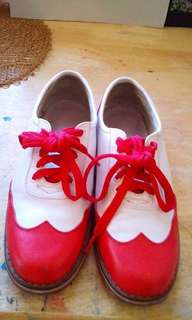Custom Made Red and White Wingtip Leather shoes