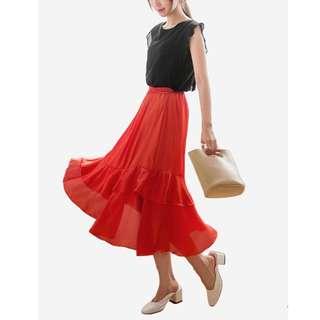 Red Tiered Swing Chiffon Skirt (Sesura - Zalora)