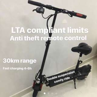 Electric Scooter with Double Suspension & Anti-Thief Remote Control, 3 Tier Cruise Control Speed - LTA Approved Limit (With Free Gifts) - In Stock