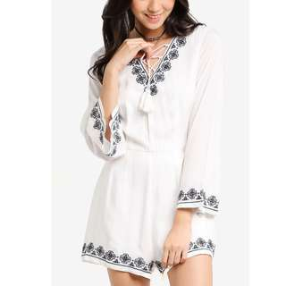 White with Blue Embroidered Design Playsuit Romper (Zalora)