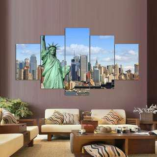 New York City Landscape Night View Wall Decoration Canvas Painting for Living Room
