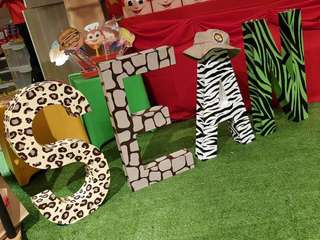 SEAN- Hand painted Safari theme Letter Standee