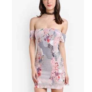 Pastel Bodycon Tight Wellie Dress with Oriental Design (Pink, Zalora)