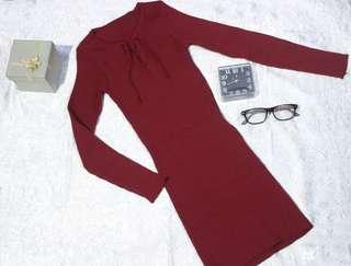 Minidress-maroon knitt