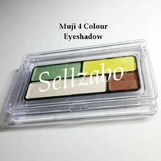 Used Muji 4 Colour Palette Eyes Shadow Eyeshadows Eyesshadows Set Makeup Cosmetics Beauty Green Yellow Brown Cream White Sellzabo