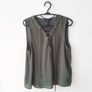 Army Green Lace Up Tank Top