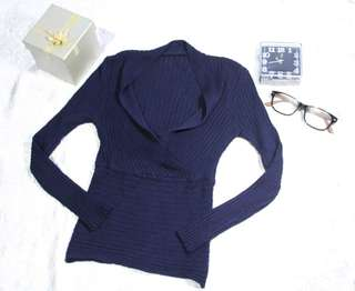 Top navy-knitted