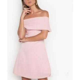 Baby Pink Off Shoulder Cocktail Dress (M and M, Zalora)